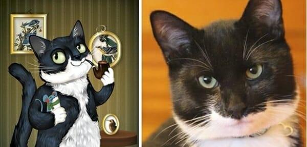 寵物插畫家 神筆畫出寵物寫實神情,只透過一張照片... Marvin是一隻非常紳士的貓