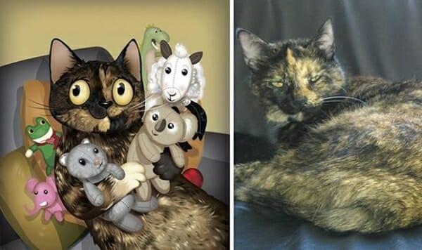 寵物插畫家 神筆畫出寵物寫實神情,只透過一張照片... Lia覺得所有玩具都是它的孩子